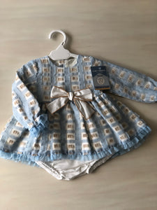 Baby blue check dress with knickers