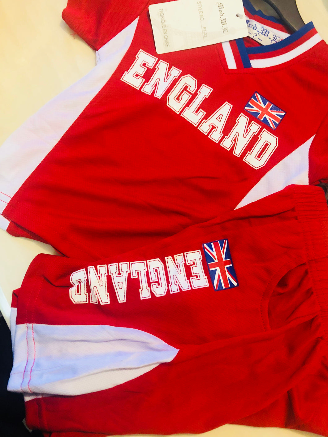 England Red Top & Shorts