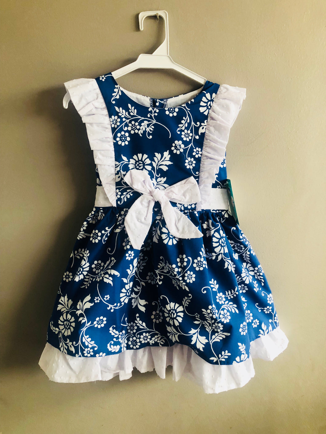 Royal Blue & White A line Dress
