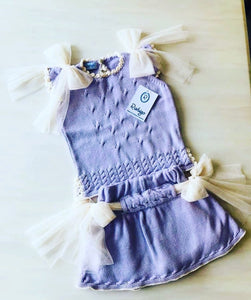 Lilac & Cream Lace Tulle Jam Pant Set