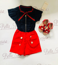Gucci inspired playsuit -navy and red