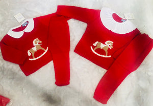 Boys Knitted Rocking Horse Tracksuit With Peterpan Collar