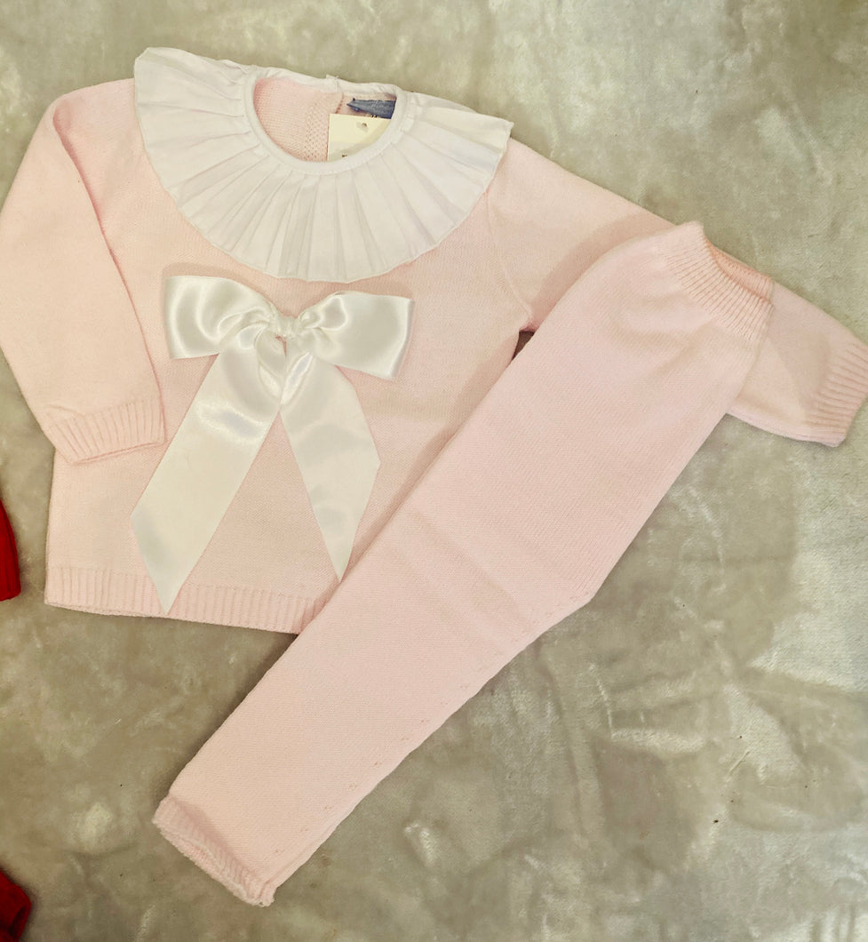 PINK bow Frill neck tracksuit