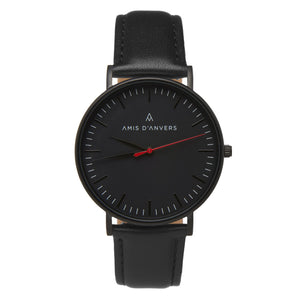 Matte black watch with grey wool strap and black leather strap