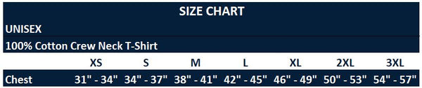 Original Hippie - Unisex 100% Cotton Short Sleeve T-Shirt Size Chart