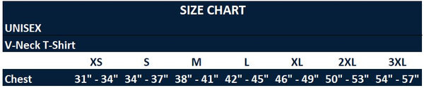 Original Hippie™ - V-Neck Unisex T-Shirt Sizing Chart