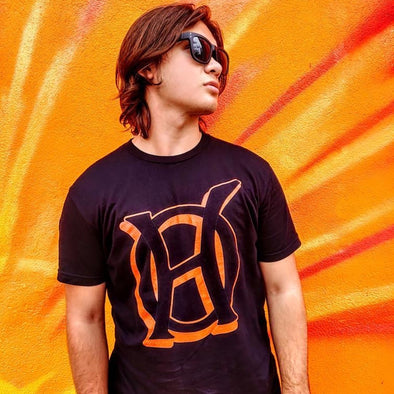 Original Hippie - Logo Orange Transparent Short Sleeve T-Shirt - Black - Man