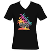 Original Hippie - Multi Color Palm Tree Name Sueded V-Neck Short Sleeve T-Shirt -Black