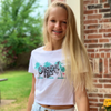 Original Hippie - Women's Crop Tee Palm Trees Name - White - Model