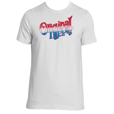 Original Hippie - American Red White and Blue Name - Short Sleeve T-Shirt - White