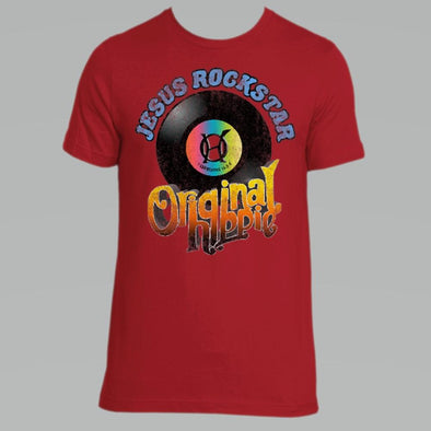 Original Hippie - Jesus Rockstar - Vintage Album - Unisex Short Sleeve T-Shirt - Red