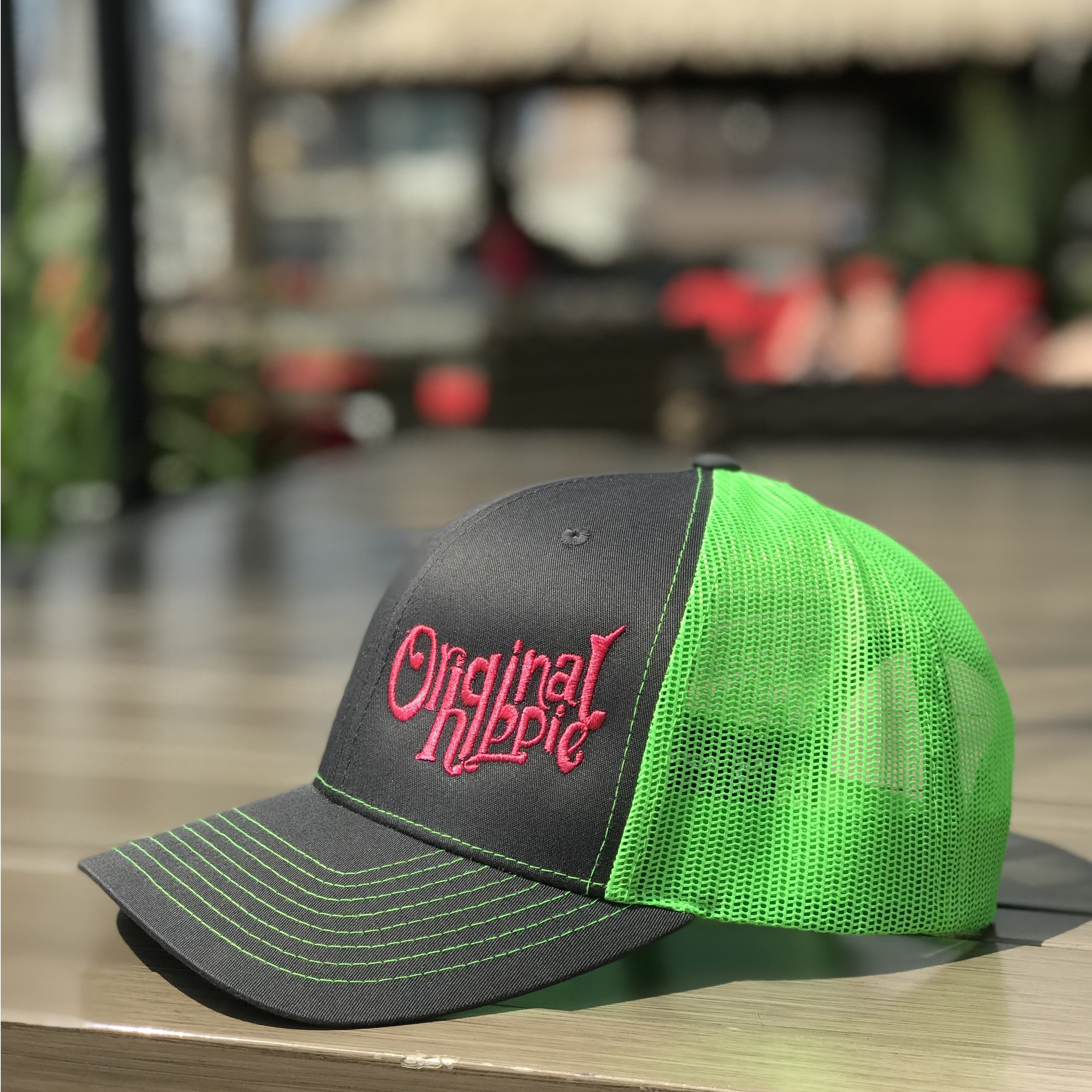 0bc53cb93fe10 Original Hippie® Charcoal and Neon Green Trucker Cap