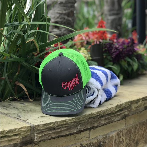 Original Hippie™ Charcoal and Neon Trucker Cap