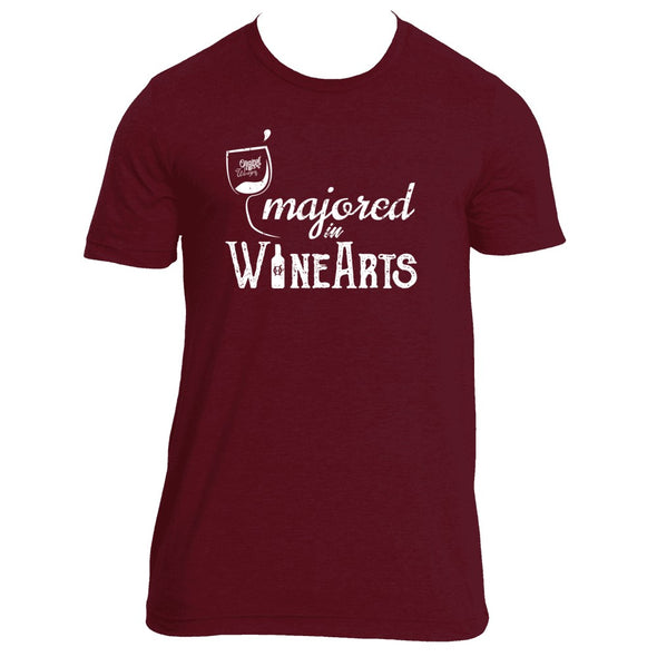 Original Hippie - Majored In Wine Arts Short Sleeve T-Shirt - Maroon Triblend