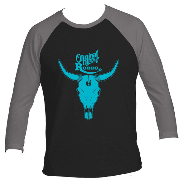 Original Hippie® - Raglan Premium Heather-Vintage Black - Aqua Bull Skull