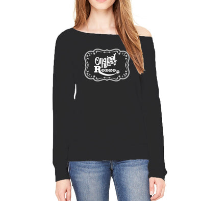 Original Hippie® - Rodeo Buckle - Women's Sponge Fleece Wide Neck Sweatshirt - Black