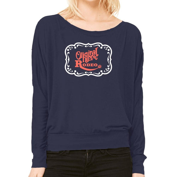 Original Hippie - Rodeo Buckle Women's Flowy Long Sleeve Off Shoulder Tee - Navy Blue