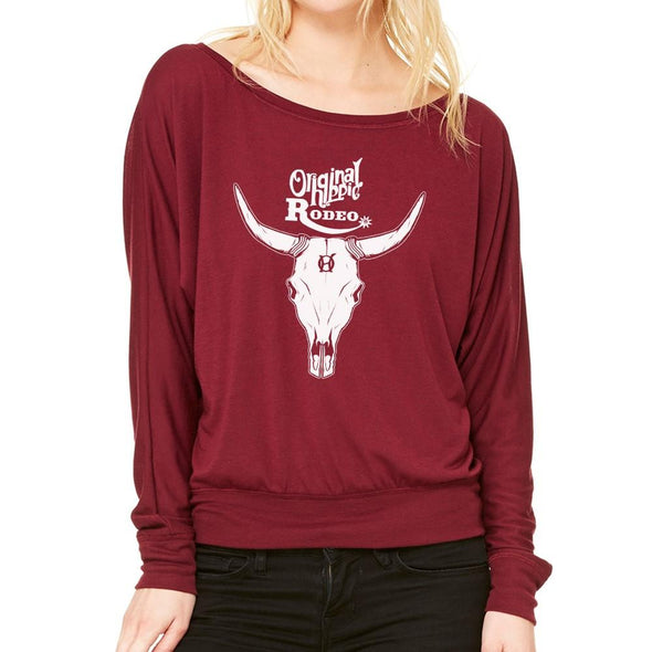 Original Hippie - Rodeo Bull Women's Flowy Long Sleeve Off Shoulder Tee - Maroon