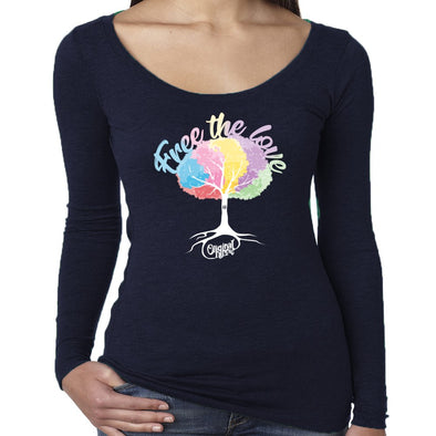 Original Hippie™ Women's Scoop Neck Long Sleeve - Free The Love - Navy Blue