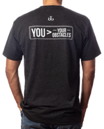 "Men's inspirational vintage black t-shirt ""You>Your Obstacles"" back view"