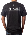 "Men's  ""You>Your Obstacles"" inspirational vintage black t-shirt back view"