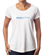 "Women's You Matter T Shirts | Relaxed fit women's inspirational white raglan t-shirt with ""You Matter"" blue design front view"