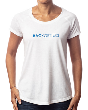 "Women's ""You Matter"" inspirational white raglan t-shirt with blue design front view"
