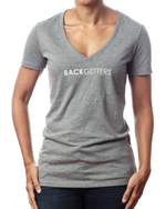 "Women's V Neck T Shirts | Women's inspirational v-neck heather grey t shirt ""You are Enough"" design front view"