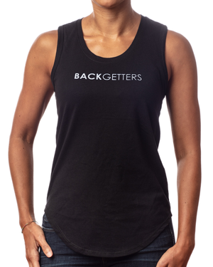 "Tank Tops For Women | Women's inspirational black tank top ""You are Loved"" design front view"