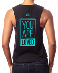 "Women's inspirational black crop tee ""You are Loved"" design in teal back view"