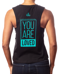 "Muscle Tank Crop Top | Women's inspirational black crop tee ""You are Loved"" design in teal back view"