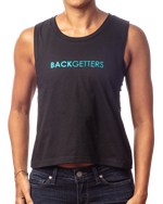 "Muscle Tank Crop Top | Women's inspirational black crop tee with ""You are Loved"" design in teal front view"