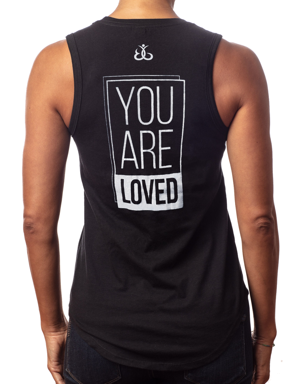 "Tank Tops For Women | Women's inspirational black tank top ""You are Loved"" design back view"
