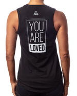"Women's inspirational black tank top ""You are Loved"" design back view"