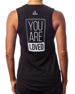 "Women's ""You are Loved"" inspirational black tank top back view"