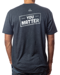 "Men's  ""You Matter"" inspirational vintage navy tee back view"