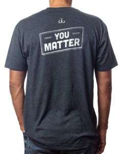 "You Matter Shirt | Super soft men's inspirational vintage navy t-shirt with ""You Matter"" design back view"