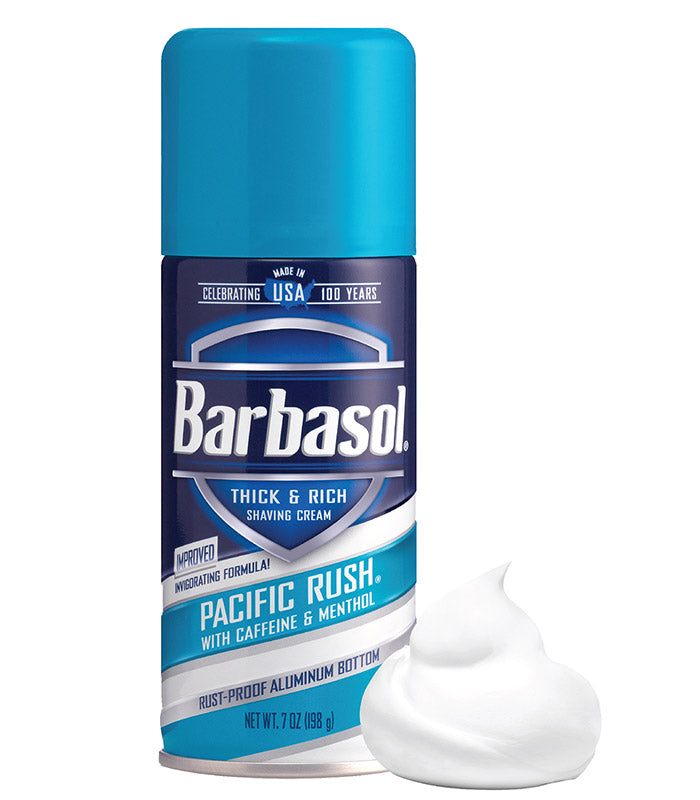 Invigorating Formula Pacific Rush® with Caffeine and Menthol Thick & Rich Shaving Cream Made in USA