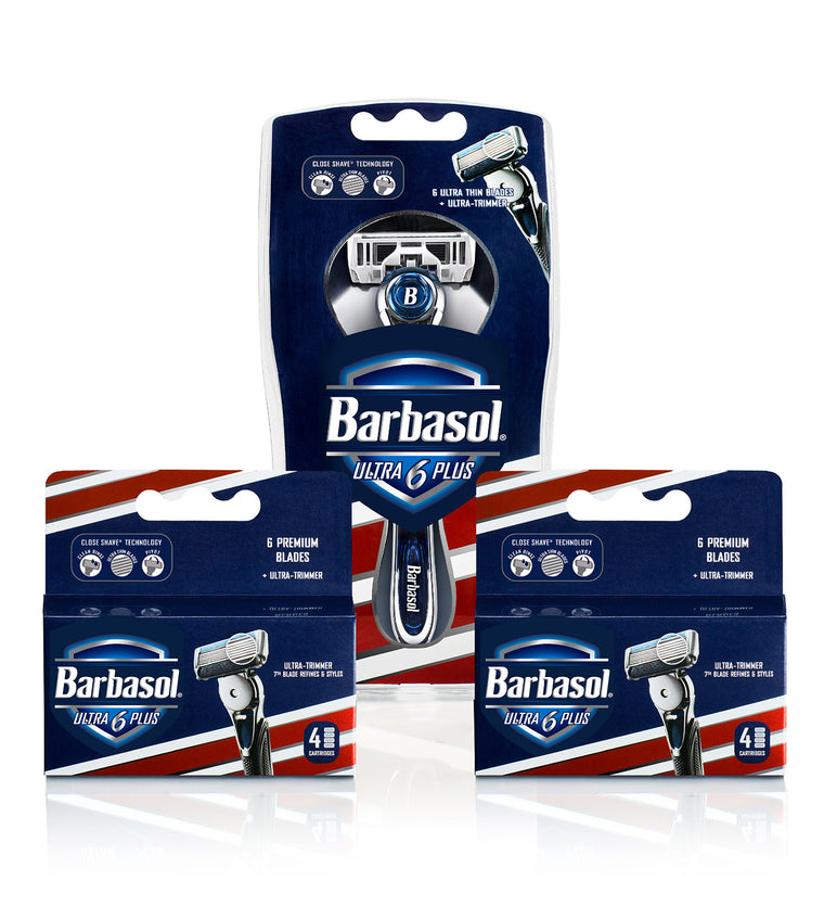 Barbasol Ultra 6 Plus Value Pack, 10 Count (1-2 Month Supply*) (Includes Razor Tray)