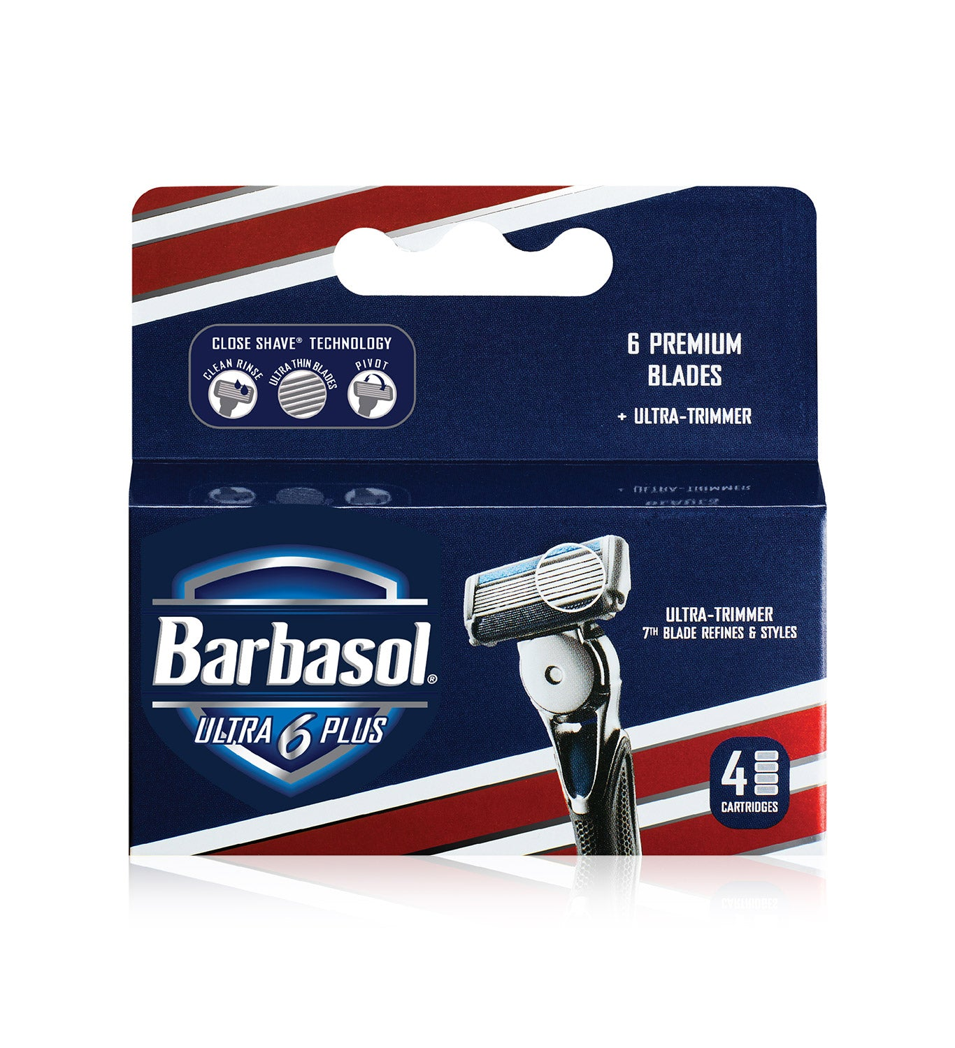 Barbasol Ultra 6 Plus Razor Blade Cartridge Refill Pack,  4 Count