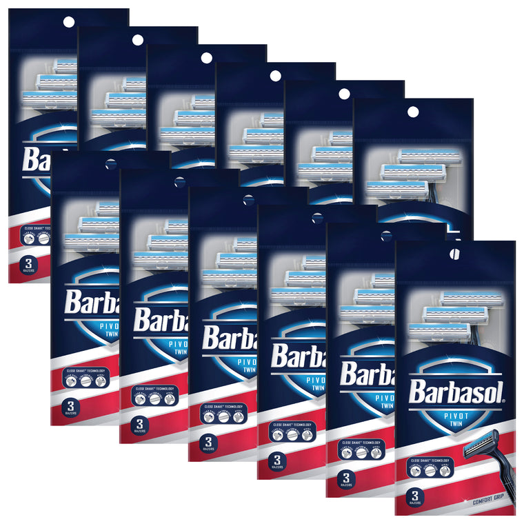 Barbasol Pivot Twin Premium Disposable Razor Value Pack Bundle (12 Packs/36 Total Razors)
