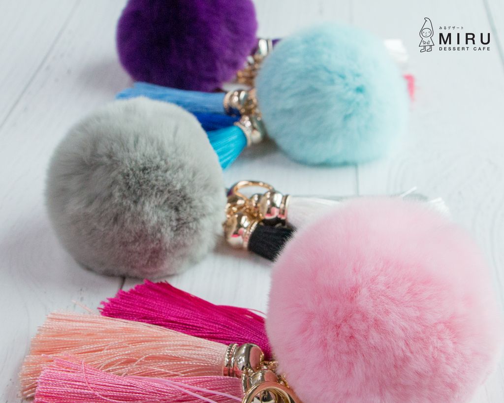 Premium Furry Pom Pom Ball Key Chain Handbag Accessories