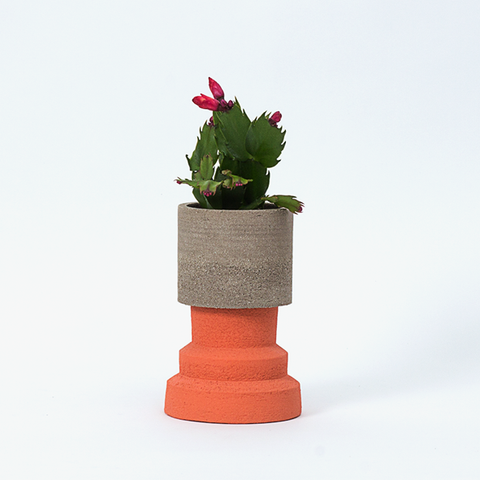 Plant Pot ~ Grey/Red