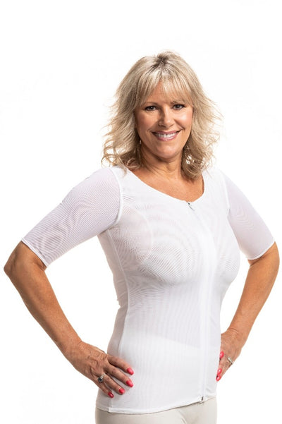 Andrea Compression Shirt with Sewn in Axilla Pads (2 Pads or 1 Pad on Right or Left)