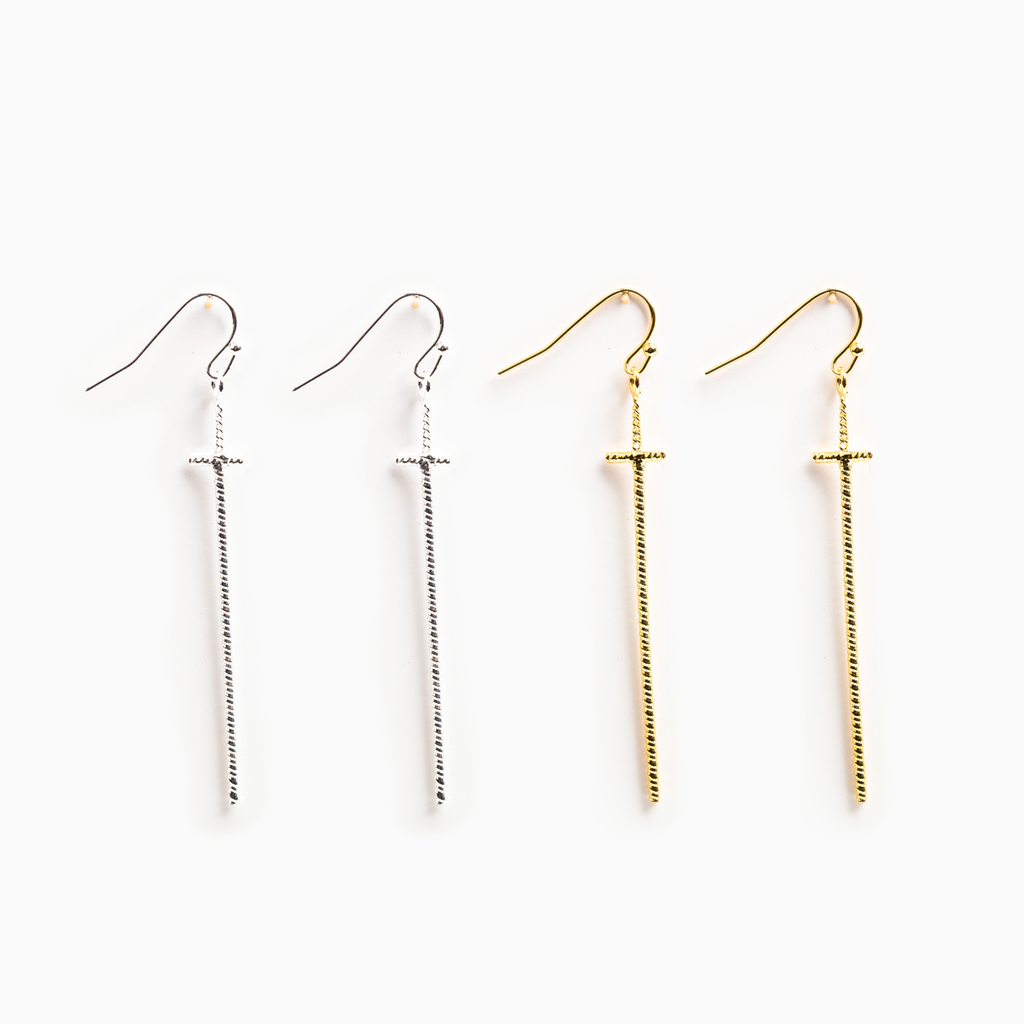 Ribbons of Faith Earrings Set - Gold and Silver