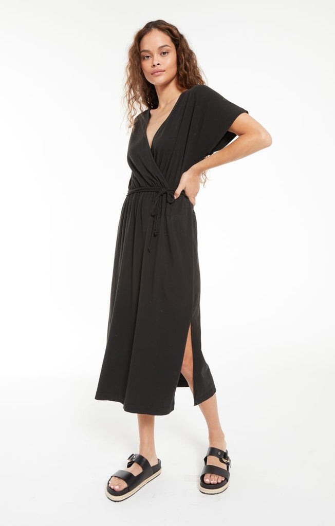 Z Supply Maryn Wrap Midi Dress- Black