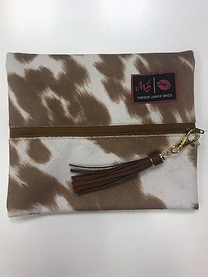 Makeup Junkie Small Brown Cowhide Bag