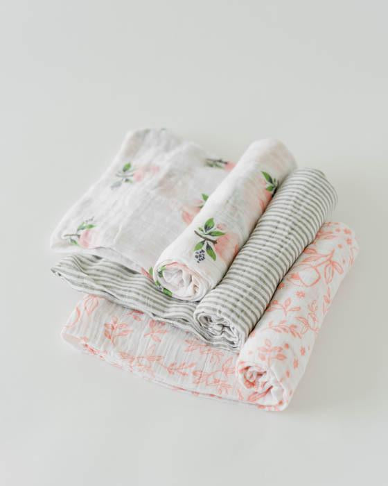 Little Unicorn Boxed Swaddle Blankets - Garden Rose, Set of 3