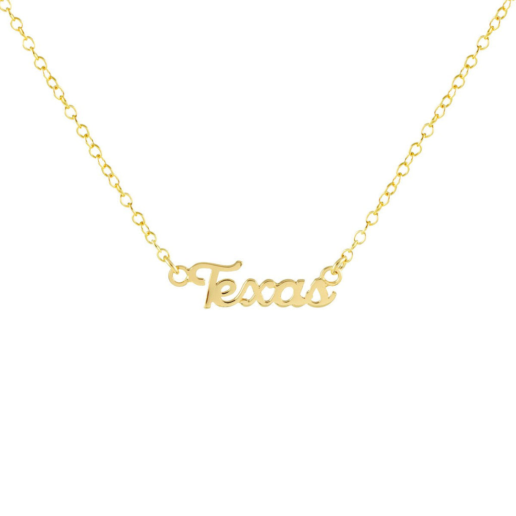 Kris Nations Texas Script Charm Necklace