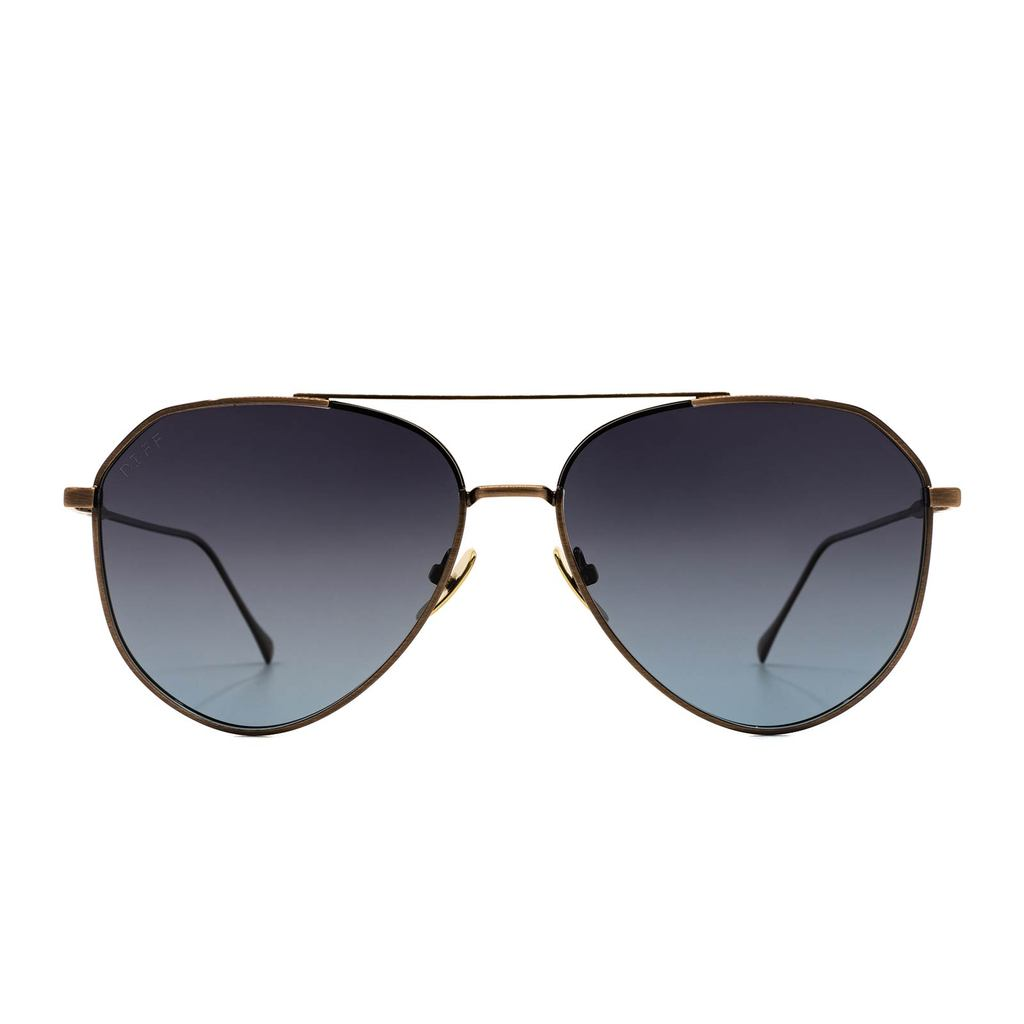 DIFF Eyewear Dash Brushed Brown Grey Blue Polarized